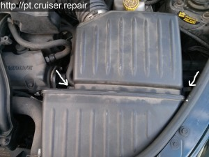 Chrysler PT Cruiser Engine Air Filter Spring Clips Location